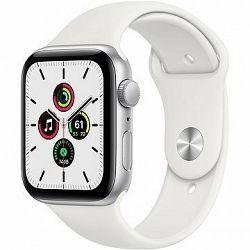 Apple Watch SE 44 mm Strieborný hliník s bielym športovým remienkom