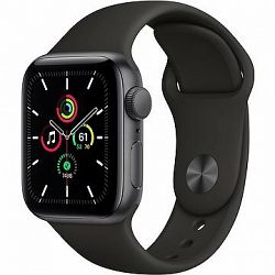 Apple Watch SE 44 mm Vesmírne čierny hliník s čiernym športovým remienkom