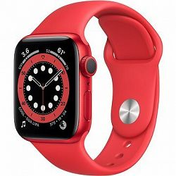 Apple Watch Series 6 44 mm Červený hliník s červeným športovým remienkom